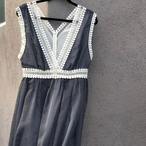 Sandro Dress with White Lace Detail